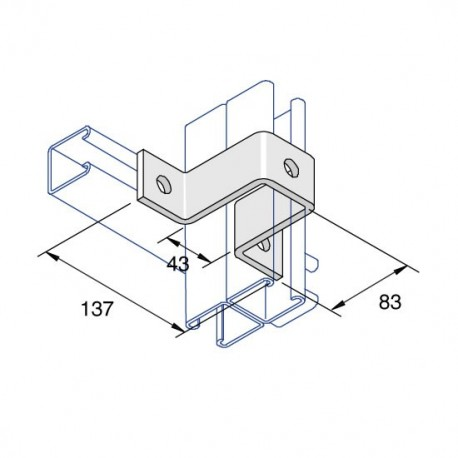 Channel Bracket Bridge Double High AI-031 HDG (BOX OF 15 PCS)