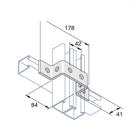 Channel Bracket Bridge Double Wide AI-032 HDG (BOX OF 20 PCS)