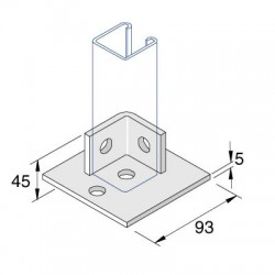 Channel Bracket Flat Base Plate Single AI-035 HDG (BOX OF 50 PCS)