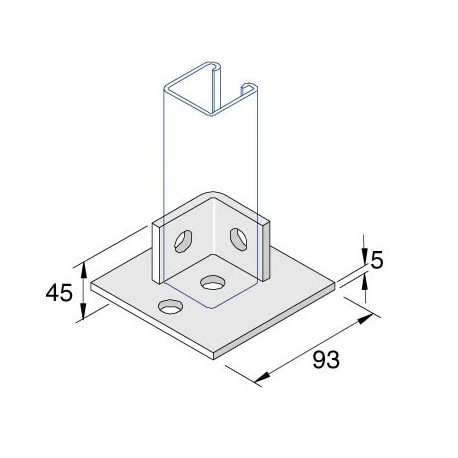 Channel Bracket Flat Base Plate Single AI-034 HDG
