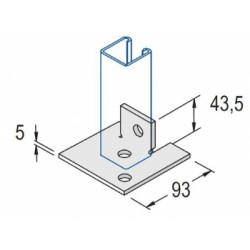 Channel Bracket Flat Base Plate Single AI-034 HDG (BOX OF 50 PCS)