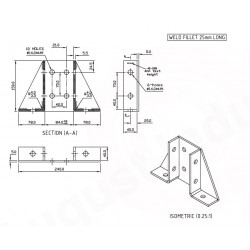 Channel Bracket Flat Base Plate Double AI-038 HDG (BOX OF 8 PCS)